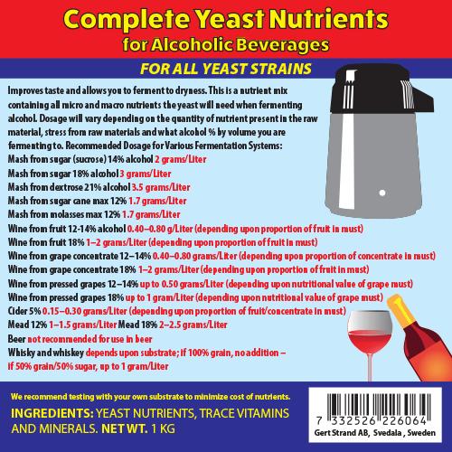 Kompletní  živiny pro kvasinky